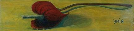 Titel: Anturium Formaat: 30 x 30 Techniek: olie op paneel